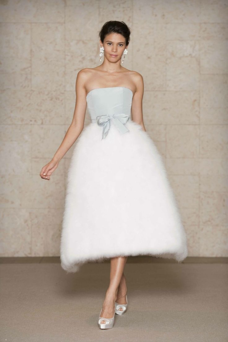 Oscar de la Renta blue silk faille bodice dress with ivory swansdown skirt. Via The Cinderella Project.