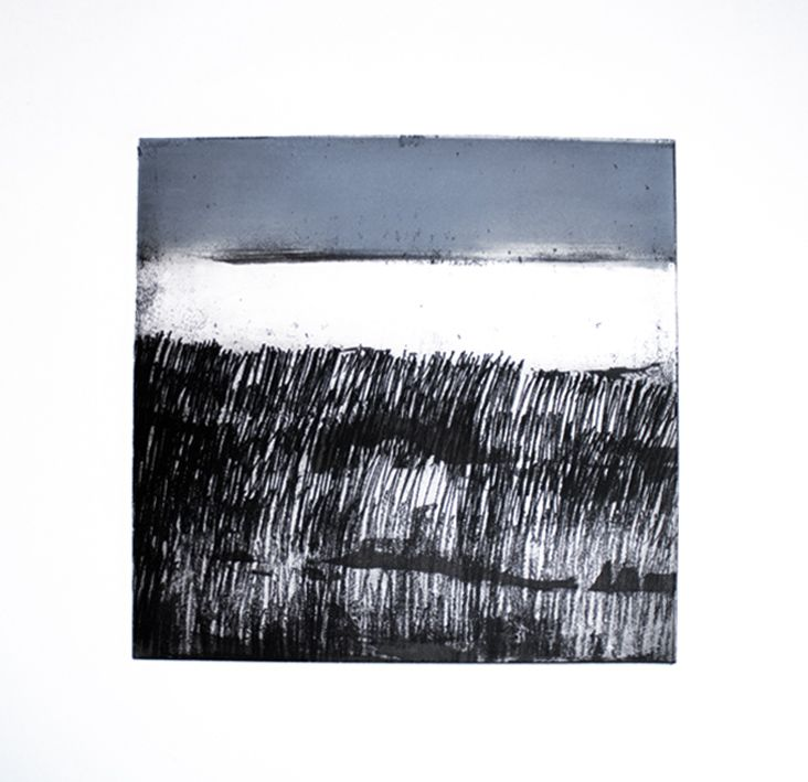 Artist Stephen Robson Print titled 'North Sea' Etching and monoprint, Etching with monoprint. Plate size 25 x 25cms approx.Variable edition of 16