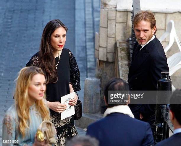 Tatiana Santo Domingo and Andrea Casiraghi attend the wedding of Lady Charlotte and Alejandro Santo Domingo's wedding on May 28 2016 in Granada Spain