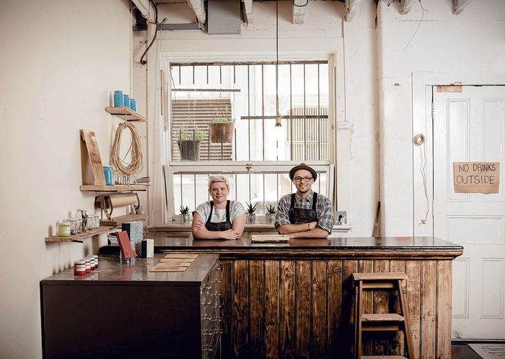 Cassie Alvey and Jake Holmes at Tooth and Nail Studios. As seen in the Adelaide* magazine's Youth Issue, June 2013. Photo: Sven Kovac. #Adelaide #Artist #creative #Art #ArtStudio