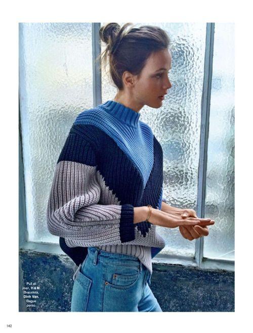 chunky sweater + denim combo