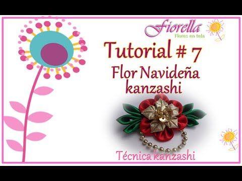 Tutorial #7 Flor navideña Kanzashi