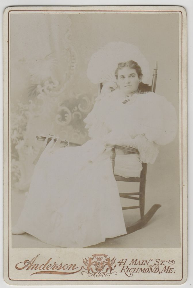 Cabinet Card Young Woman In White, Rocking Chair - Anderson Studio, Richmond, ME