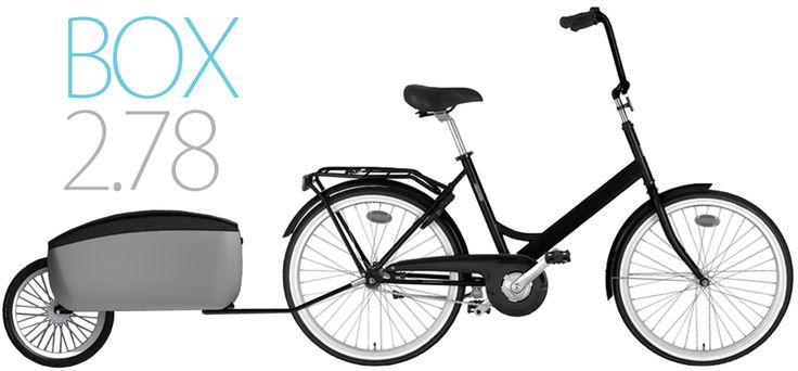 BOX 2.78 //  Box 2.78 on suunniteltu erityisesti ostosten yms. päivittäisten tavaroiden kuljetukseen. Se on kiinnitettävissä kaikenlaisiin pyöriin ja sopii myös perheiden tai taloyhtiöiden yhteiseen käyttöön. //  Suunnittelijat Olli Mustikainen, Johanna Rautkoski ja Mimmi Heikkinen