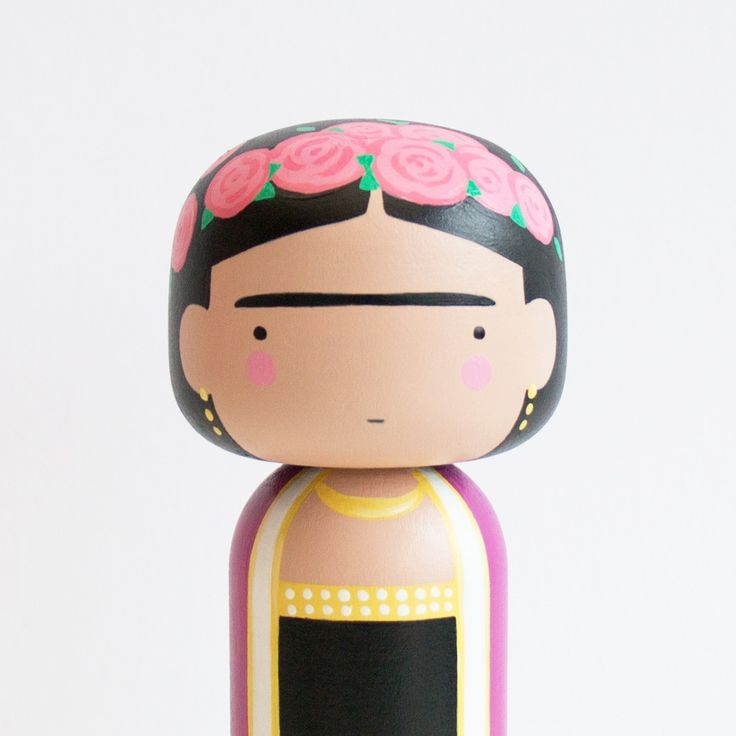 FRIDA KOKESHI Inspired by Mexican Artist Frida Kahlo. Each Doll is made form Beech wood, meticulously hand painted and sealed in a hard wearing Sat...