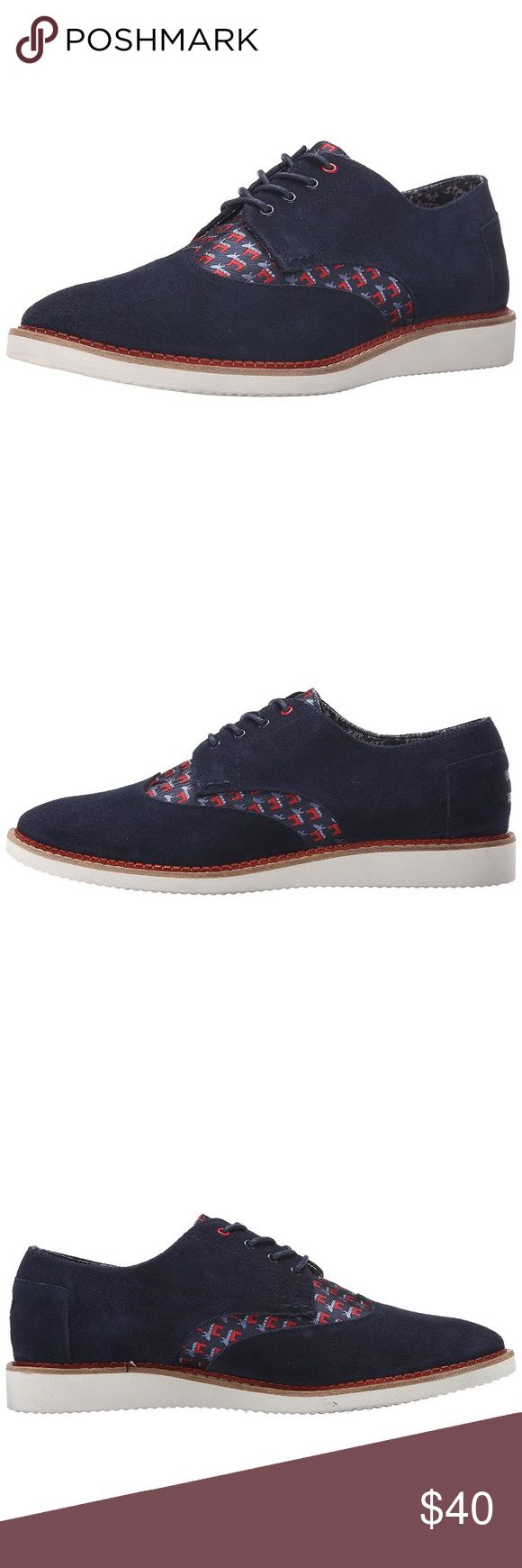 """TOMS Men's Brogue Shoes Navy Amazing condition, only worn once. Subtle """"Democrat Donkey""""print on shoe. Make an offer! TOMS Shoes Oxfords & Derbys"""