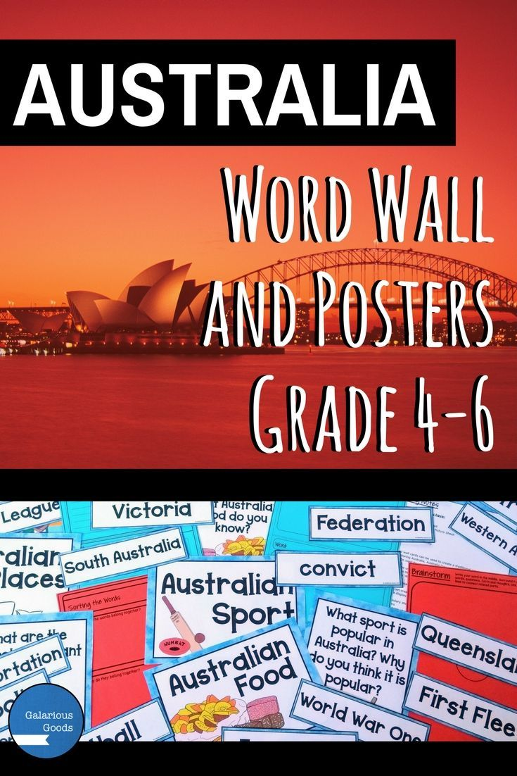 Be prepared for Australia Day or create an engaging Australia themed classroom display with this word wall and poster resource from Galarious Goods. With 88 Australia themed vocabulary word wall cards, vocabulary activities and colour and black and white posters, this is perfect for Year 4, 5 and 6 classrooms. #australianresources #australiaday #wordwall #vocabulary #teachingresources #australiancurriculum  #socialstudies