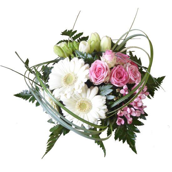 Bouquet Roses Branchues Roses Freesias Blancs Bouvardias Roses Et Germinis Blancs Fleurs