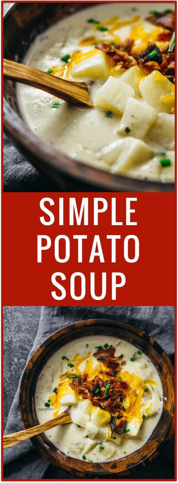 Creamy potato soup with bacon and cheddar   Cheesy potato soup   Simple potato soup   Comfort food   One pot dinner   Easy recipe via /savory_tooth/