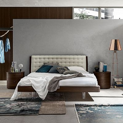 Upholstered, ultramodern 'Water' bed. Great padded headboard, metal and wooden, all high quality materials. My Italian Living.