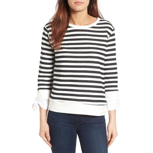 Women's Gibson Tie Sleeve Sweatshirt (3.355 RUB) ❤ liked on Polyvore featuring tops, hoodies, sweatshirts, petite, petite tops, sleeve top, white top, tie top and poplin top