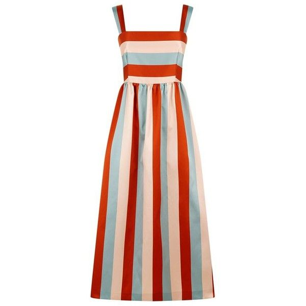 Red Valentino Striped Midi Dress (905 AUD) ❤ liked on Polyvore featuring dresses, jackets, striped dress, stripe dresses, striped mini dress, mid calf dresses and midi dress