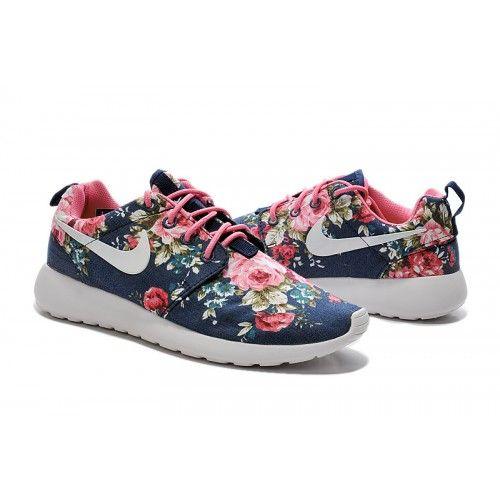 Billig Herren/Damen Nike Roshe One Print Blumen - Marine blau/rosa Blumen Laufen Schuhe Ausland