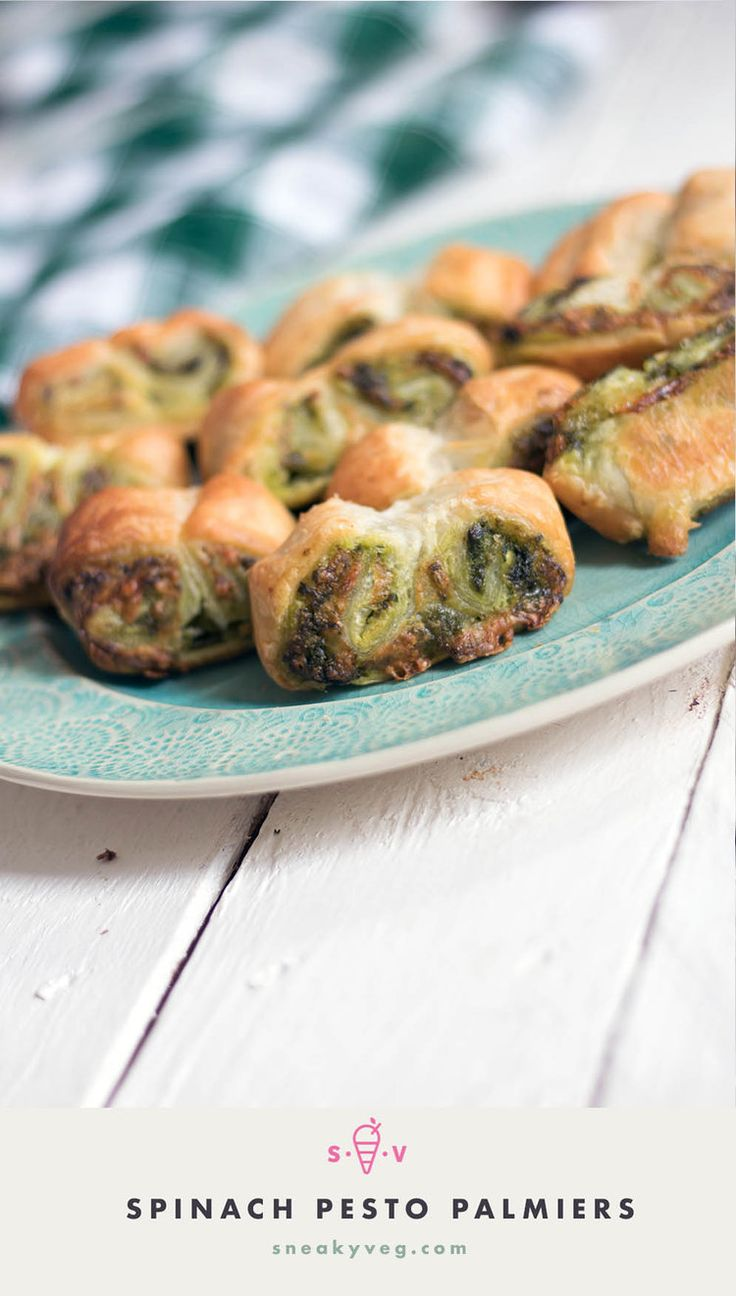Easy spinach pesto puff pastry palmiers recipe
