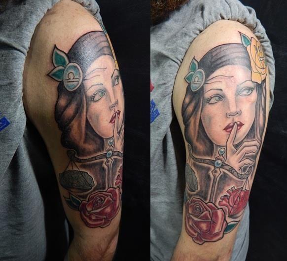 #Libra #Zodiac #Heart #Brain #Silence #Rose #Cubo #Tattoo