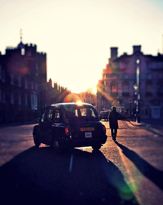 Urban London Street Photo, London Taxi, Britain, UK, Sunset, Walking home, 8x10 from Etsy Shop RonyaGalka ($25)