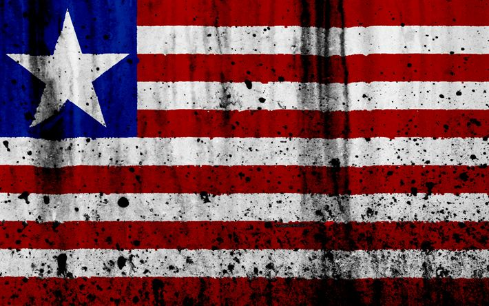 Download wallpapers Liberian flag, 4k, grunge, flag of Liberia, Africa, Liberia, national symbols, Liberia national flag