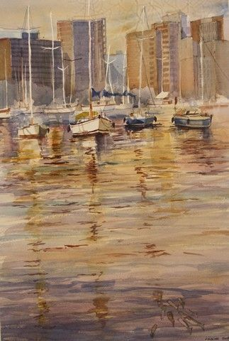 Morning at the Yacht Mole  Watercolour  270 x 350