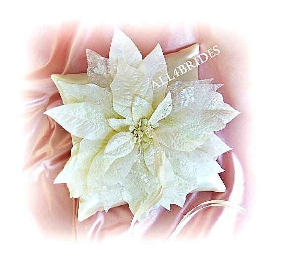 Items Similar To Winter Wedding Ring Bearer Pillow Poinsettia Cushion On Etsy