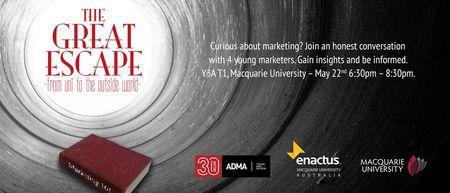 22nd - THE GREAT ESCAPE - MQ. 6:30 PM. Y3A Theatre 1, Macquarie University. #sydney http://www.eventbrite.com.au/e/the-great-escape-mq-tickets-11504667771