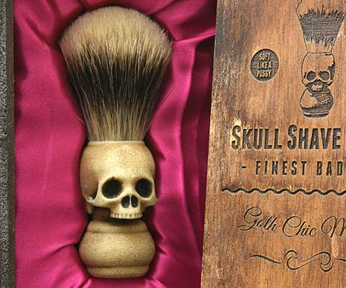 Take your shaving game up a notch by adding this unique skull shaving brush to your kit. It features a faux ivory handle molded into the shape of a sinister skull and is made with the finest badger hair for a superb feel when applying shaving cream.