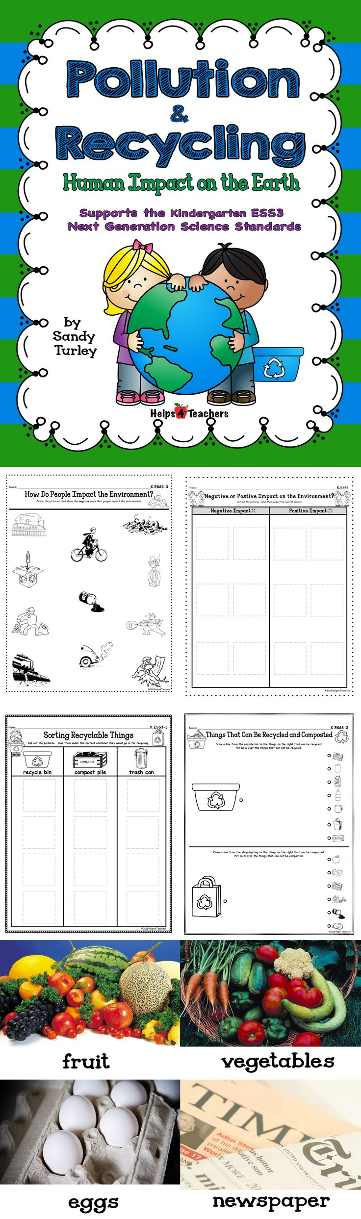 $ AWESOME! This packet supports the Kindergarten Next Generation Science Standard ESS3 and includes everything needed to teach about things that impact/hurt and help our environment, and everything needed to teach about what can and can't be recycled as well as what can and can't be composted.  Includes full color photographs that can be used to support the lesson and small photographs that can be used for two different sorting activities.