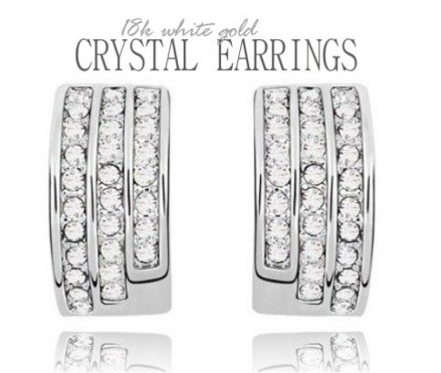 18K White Gold Plated Crystal Elements Earrings. A fine piece of jewellery that adds to your fashion and style. It features stunning crystals for the ultimate sparkle.  Just $14 from #ikOala #jewellery #deals.
