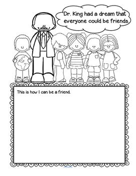 """***FREE*** Here is simple activity page for preschoolers to discuss and celebrate the focus of Dr. King's message in a way that they can understand. """"Dr. King had a dream that everyone could be friends. This is how I can be a friend."""""""