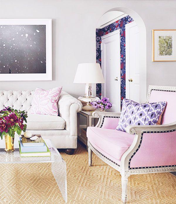 pale pink and purple decor palette: Décor Inspiration, Interior, Living Rooms, Palest Pink, Pale Pink, Bar Carts, Color Palette, Design