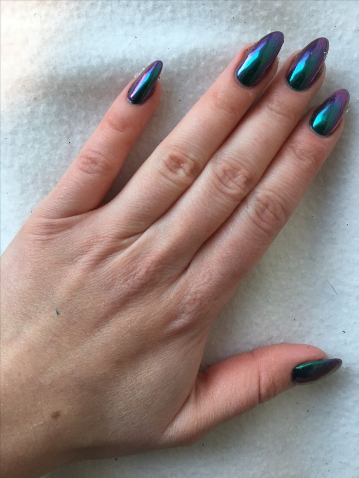 Blue Purple Chrome Nails January 2017 Almond Nails Stiletto Oil Slick Lovely Nails Metallic