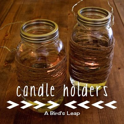 Cute Stringed Mason Jar Candle Holder #DIY