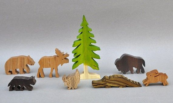 Wilderness Animal Set Wooden Toy Blocks Waldorf Toys for Kids Gifts for Boys and Girls on Etsy, $25.75