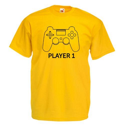 Tricou personalizat cu un controller si textul Player urmat de un numar. Acest design poate fi aplicat pe tricouri tata - fiu/fiica sau mama - fiu/fiica, ori pentru intreaga familie: player 1, player 2, player 3, s.a.m.d