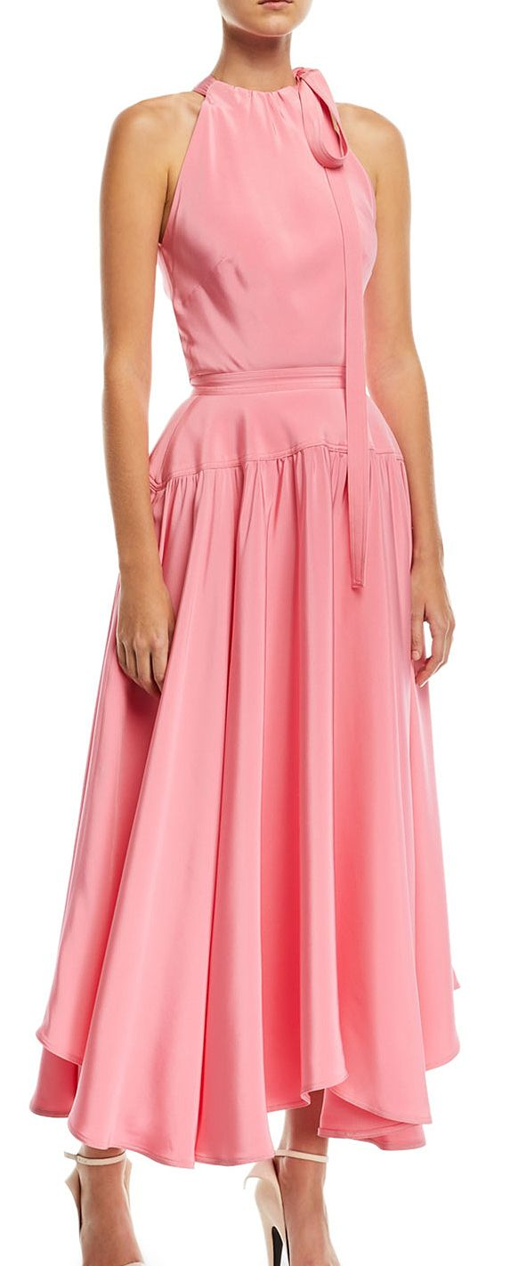 Calvin Klein Candy Pink Sleeveless Halter Long Dress with Full Skirt for a day at the races or spring wedding guest with a big floral hat. Think Pink Fashion. Kentucky Derby, Royal Ascot, Melbourne Cup outfit idea, inspiration. Fashionista Outfits for the races or wedding guests. #fashion #dressfortheraces #royalascot #kentuckyderby #derbyoutfits #summerweddings #weddingoutfits #fashion #fashionista #outfitideas #shopsmall #affiliatelink #outfits