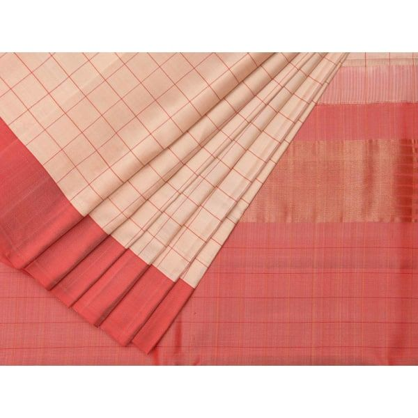 Cream and Baby Pink Uppada Silk Handloom Saree with Checks Design u1214