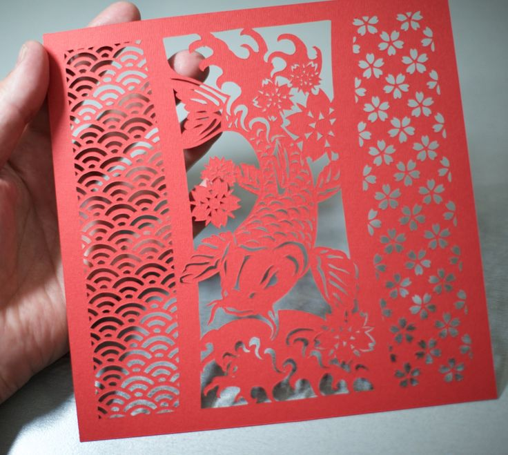 Koi, hand-cut paper by ChNNLampshade on Etsy