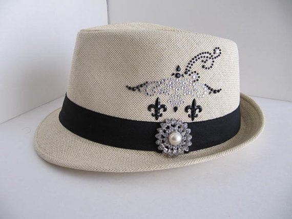 Fedora Hat Fedora Bling Hat Woman Cap Fedora by GoldenDreamFinds, $23.00
