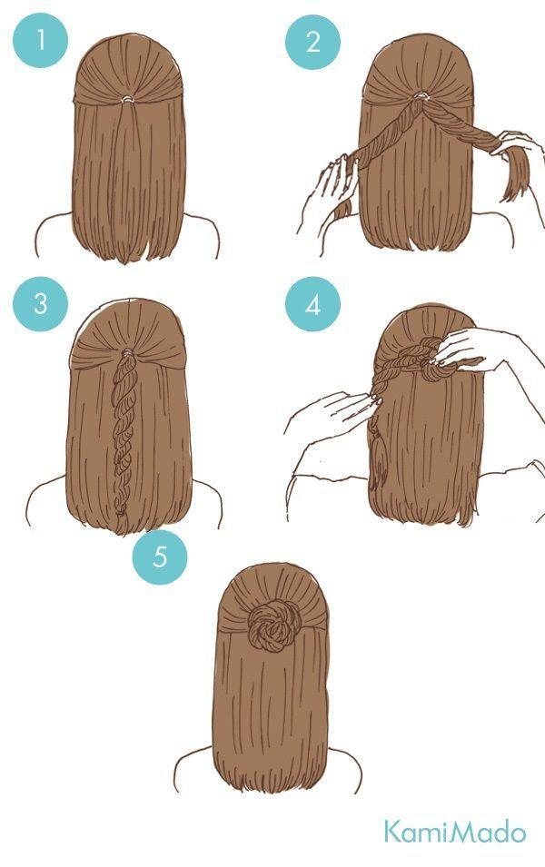 Süße Frisur, aber wenn ich das tatsächlich probiert hätte, wäre es so unordentlich und fliege davon