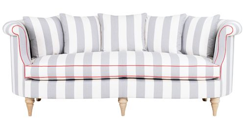 Clanfield sofa in striped fabric. This would look really striking in a bedroom.  #WesleyBarrell
