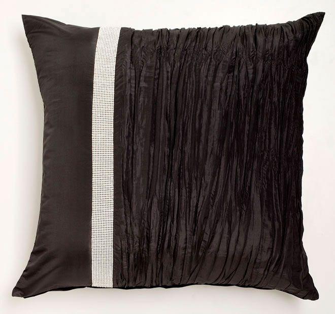 Tiara Black DAVINCI  Features: Plain and crinkle texture faux silk panels Vertical diamante tape trim Plain faux silk reverse  Dimensions: x1 European Pillowcase - 65cm x 65cm - #pillowcases