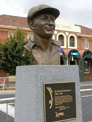 Don Bradman, Sunbury, Victoria  - Sculpted by Wendy Black, Tom Bass Sculpture Studio 2011. After over a 60 year career as a public sculptor, in mid 1973, Tom Bass founded his independent sculpture school to teach the fundamentals of sculpture.