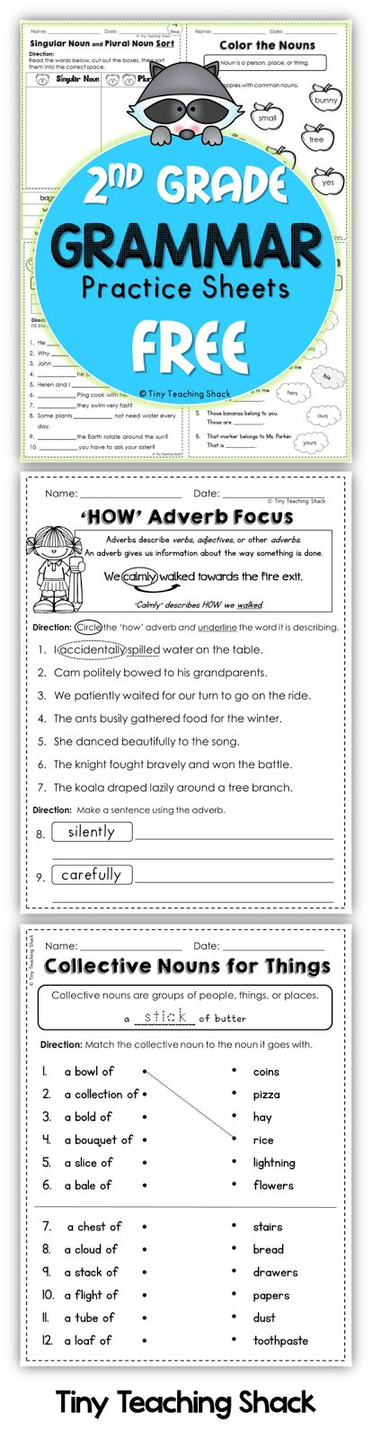 Second Grade Grammar Practice Sheets