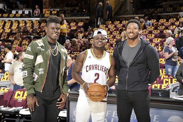 Cleveland Browns first-round draft picks Myles Garrett, Jabrill Peppers, and David Njoku at the Cavs game tonight #DefendTheLand