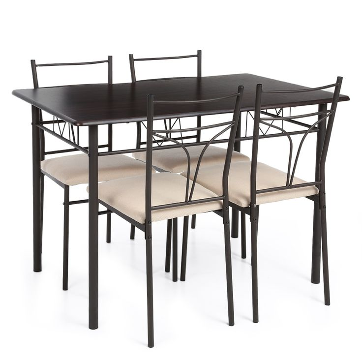 iKayaa US UK FR Stock 5PCS Modern Metal Frame Kitchen Table Chairs Set for 4 Person Furniture 120kg Capacity Dining Room Sets