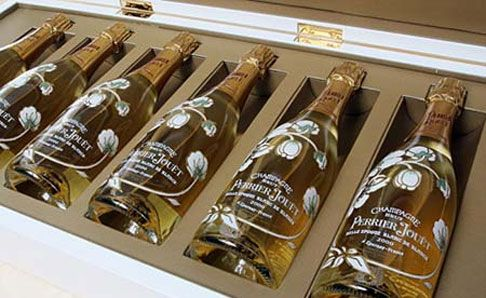 The limited edition 12-bottle box sets of Perrier-Jouet champagne will be priced at €50000 according to French drink firm Pernod-Ricard.  That's $6485 per bottle!