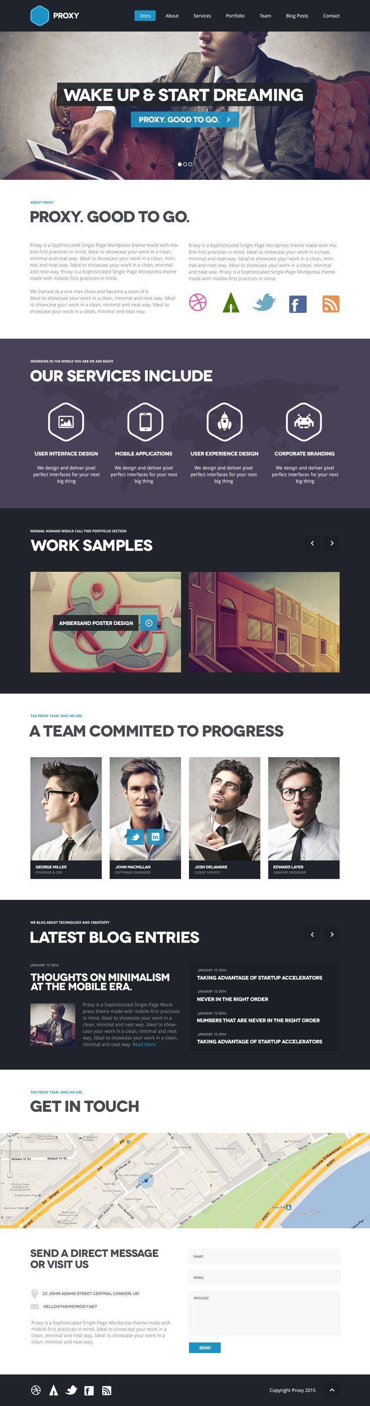 Proxy Single Page WordPress Theme Preview