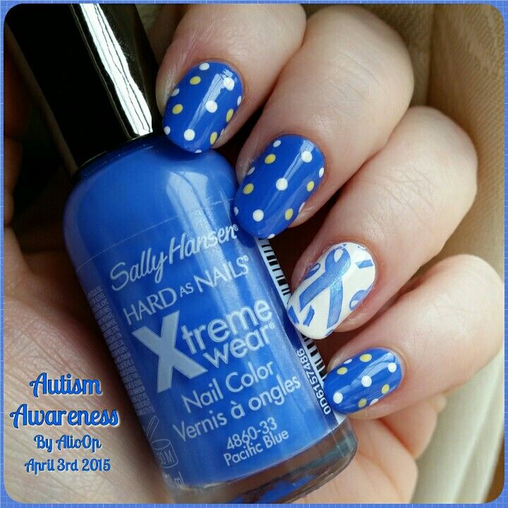 26 best nail designs images on pinterest nail designs autism my autism awareness nail art i used sally hansens pacific blue as my base and prinsesfo Images