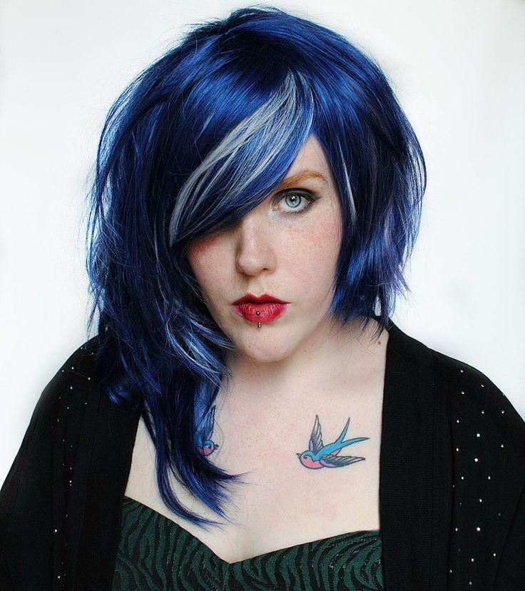 Black And Purple Hair | ... Blue Black Lavender Purple Silver // Edgy Punk Rock Scene Emo Hair