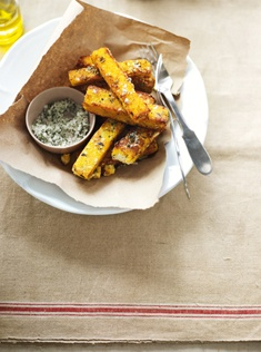 Rricotta and polenta chips with sage salt.