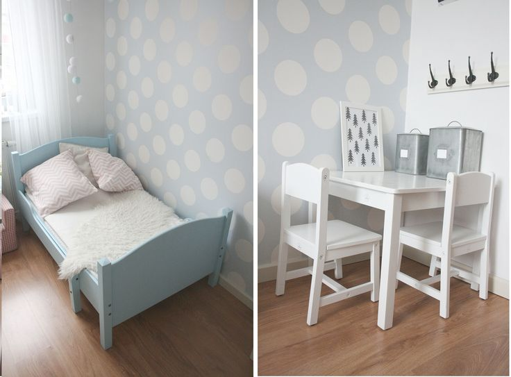 kids room / scandi / light blue bed / room seven wallpaper